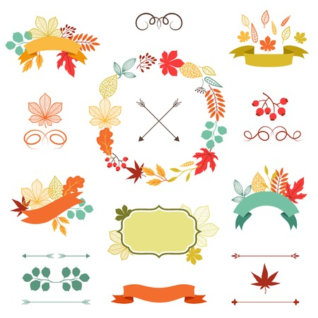 autumn garden: Autumn leaves set of wreath, ribbons and labels  Illustration