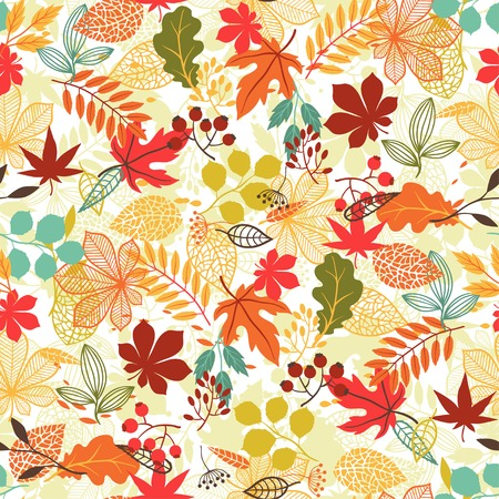 Seamless pattern with stylized autumn leaves  Çizim