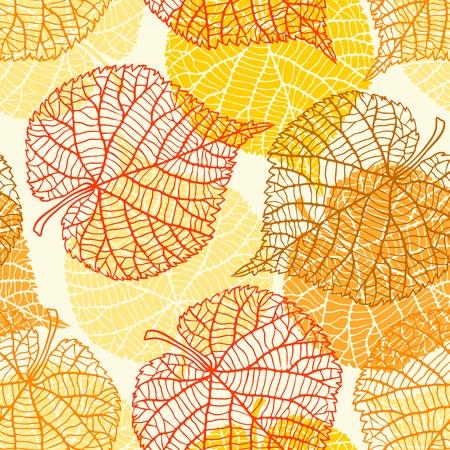 Seamless pattern con foglie di autunno stilizzato