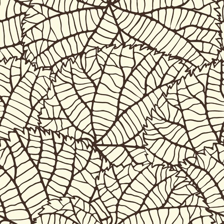 plant cell: Seamless pattern with stylized autumn leaves  Illustration