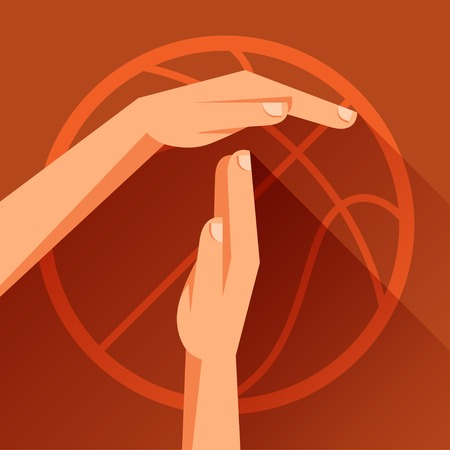 time out: Sports illustration with basketball gesture sign timeout