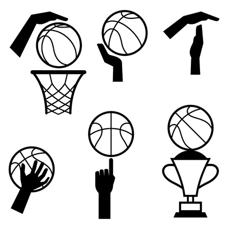 hoop: Basketball icon set of gestures and symbols in game