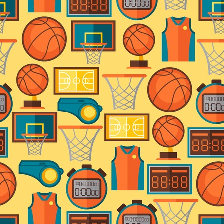 Sports seamless pattern with basketball icons in flat style  Vector
