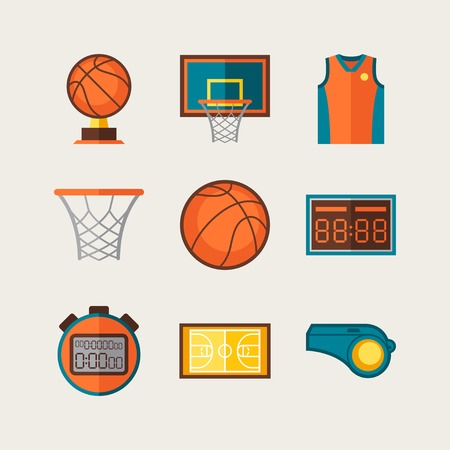 basketball hoop: Basketball icon set in flat design style
