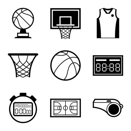 フラットなデザイン スタイルでバスケット ボールのアイコンを設定