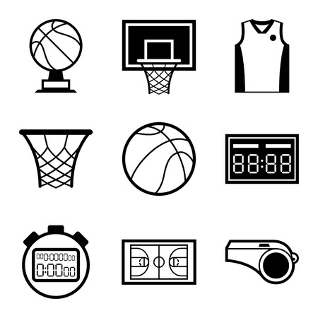 hoop: Basketball icon set in flat design style