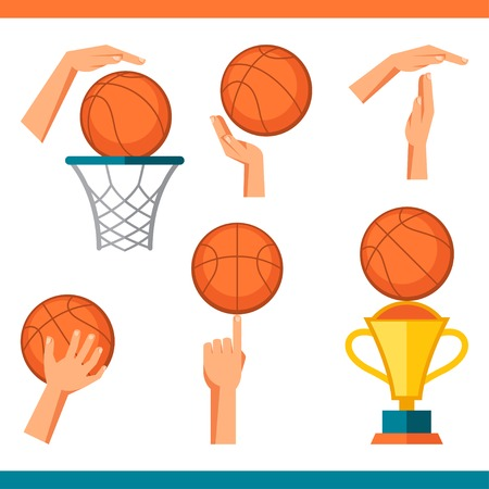 time out: Basketball icon set of gestures and symbols in game