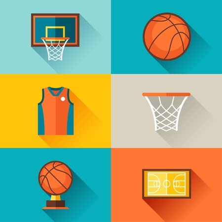 basketball hoop: Sports background with basketball icons in flat style