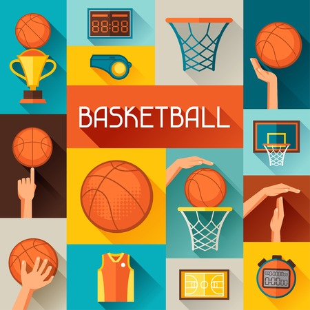 Sports background with basketball icons in flat style  Vector
