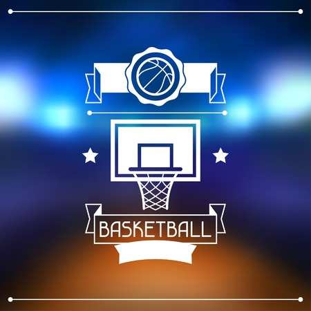 Background with basketball, ball, hoop and labels  Vector