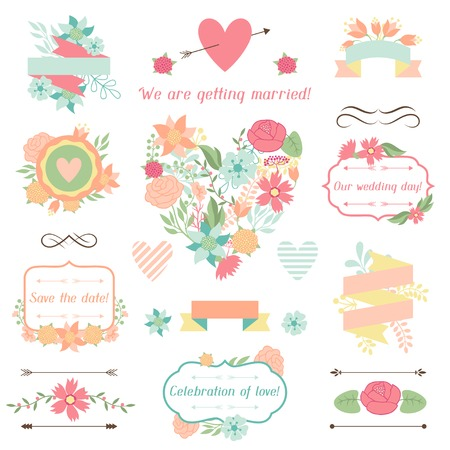 Wedding collection of decorations, flowers, ribbons and labels  Vector