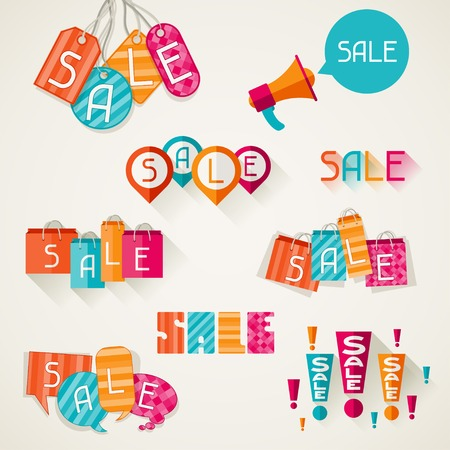 Boodschappentassen, prijsetiketten in flat design stijl Stock Illustratie