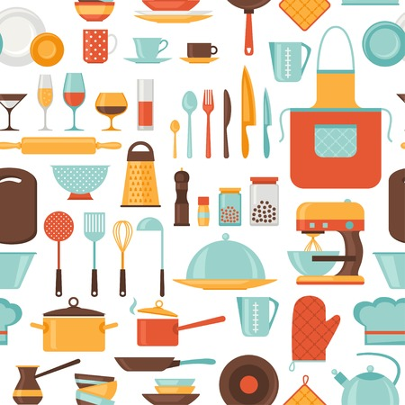 kitchen tools: Seamless pattern with restaurant and kitchen utensils