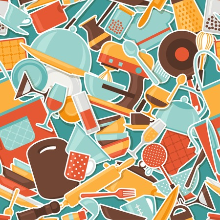 drink tools: Seamless pattern with restaurant and kitchen utensils