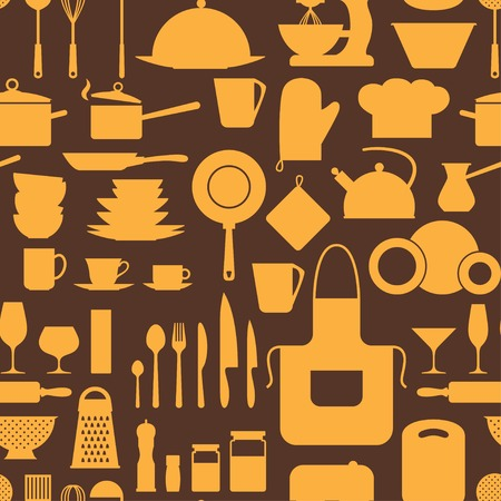Seamless pattern with restaurant and kitchen utensils  Vector