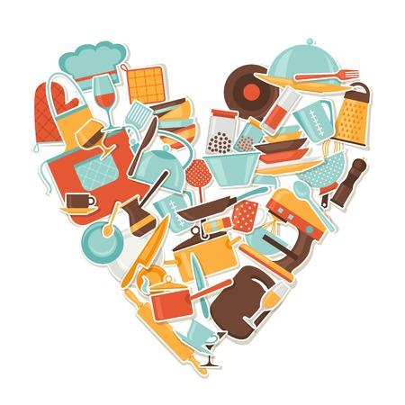 whisk: Background with kitchen and restaurant utensils stickers