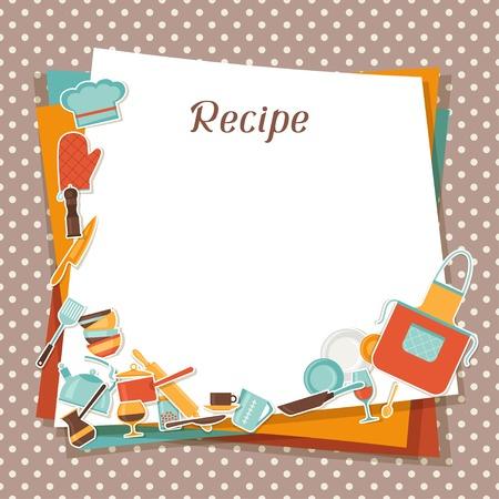 keuken restaurant: Recept achtergrond met keuken en restaurant gebruiksvoorwerpen