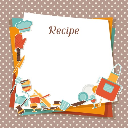 recipe: Recipe background with kitchen and restaurant utensils