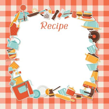 Receta de fondo con utensilios de cocina y de restaurante Vectores