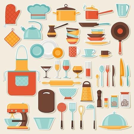 Küche und Restaurant-Icon-Set von Utensilien