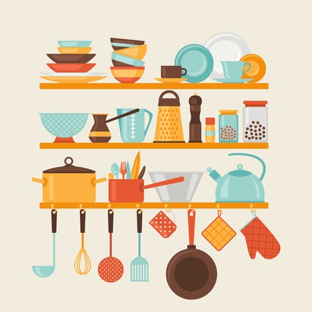 pot: Card with kitchen shelves and cooking utensils in retro style