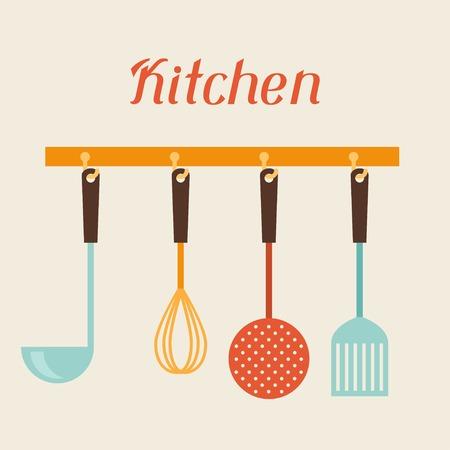 Kitchen and restaurant utensils spatula, whisk, strainer, spoon