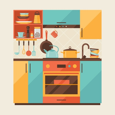 kitchen equipment: Card with kitchen interior and cooking utensils in retro style  Illustration