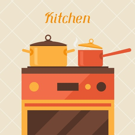 Card with kitchen oven and cooking utensils in retro style