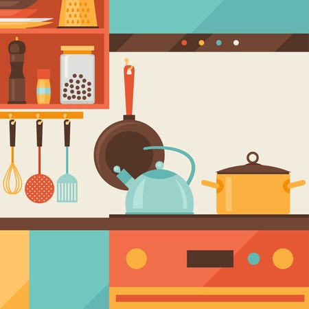 cookery: Card with kitchen interior and cooking utensils in retro style  Illustration