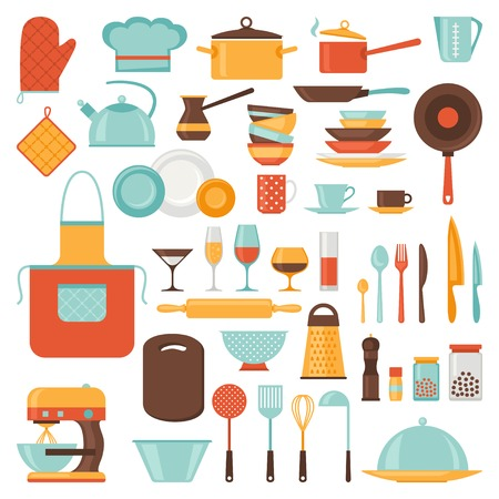 Küchen-und Restaurant-Icon-Set von Geschirr Standard-Bild - 30170867