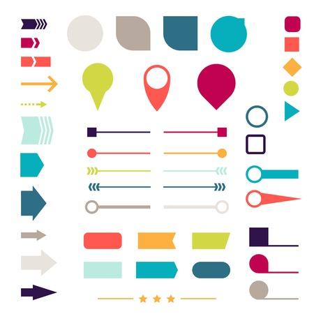 bordure de page: Ensemble d'éléments, des marqueurs, des flèches et des séparateurs pour la conception Illustration