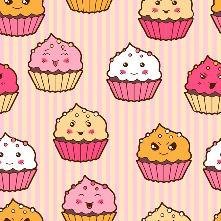 Seamless kawaii cartoon pattern with cute cupcakes  Vector