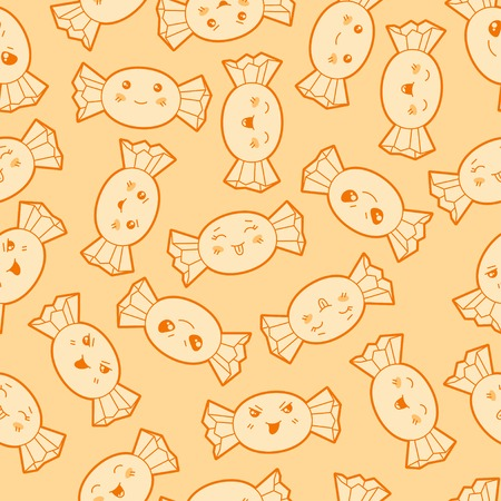 Seamless kawaii cartoon pattern with cute candies  Vector