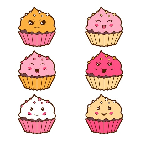 wicked set: Set of kawaii cupcakess with different facial expressions