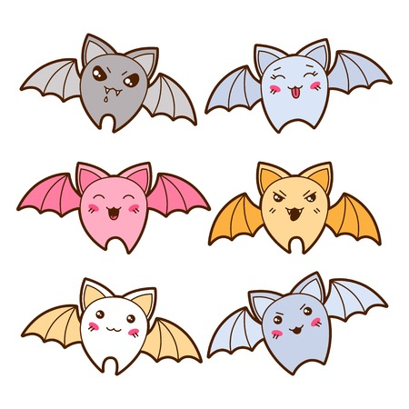 Set of kawaii bats with different facial expressions