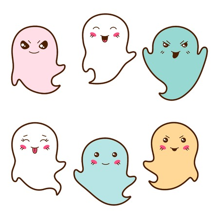 wicked set: Set of kawaii ghosts with different facial expressions  Illustration