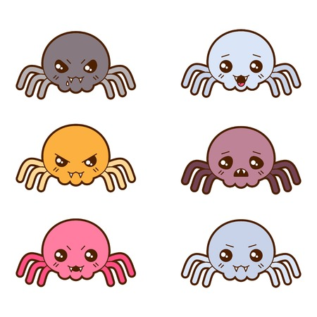 wicked set: Set of kawaii spiders with different facial expressions  Illustration