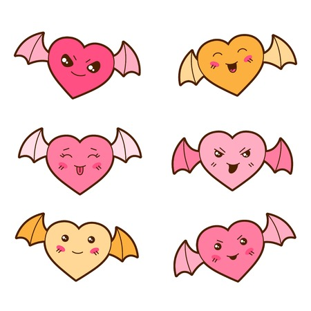 wicked: Set of kawaii hearts with different facial expressions  Illustration