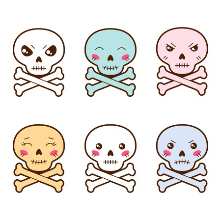 Set of kawaii skulls with different facial expressions  Vector