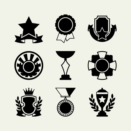 award badge: Trophy and awards icons set in flat design style  Illustration