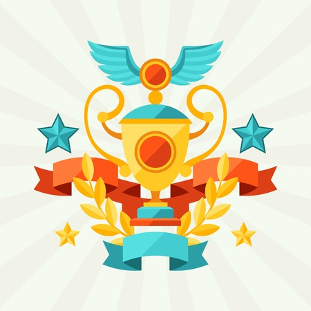 Background with ribbons and awards in flat design style  Vector