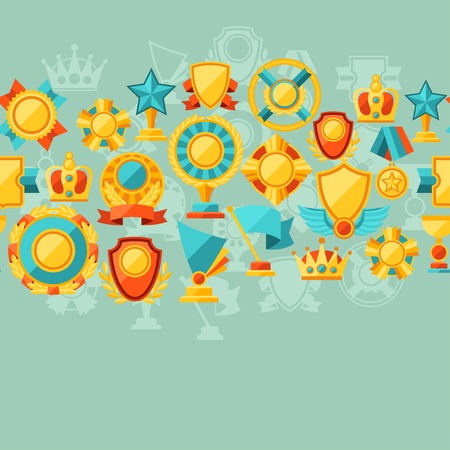 Seamless pattern with trophy and awards in flat design style  Vector