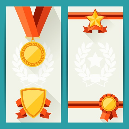 award trophy: Certificate templates with awards in flat design style