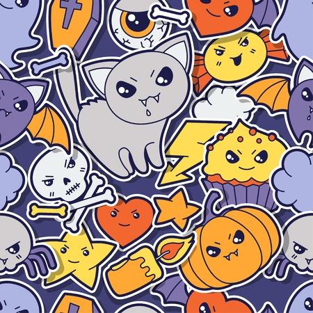 Seamless halloween kawaii pattern with sticker cute doodles   Vector
