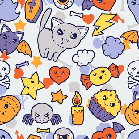 fruit bat: Seamless halloween kawaii pattern with cute doodles   Illustration