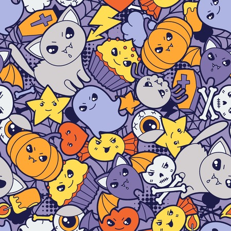 Seamless halloween kawaii pattern with cute doodles   Vector