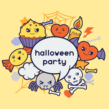Halloween kawaii greeting card with cute doodles  Vector