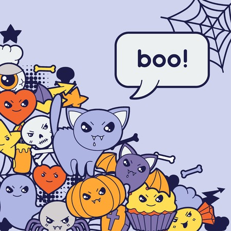 Halloween kawaii greeting card with cute doodles  Vector