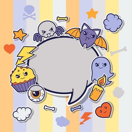 Halloween kawaii greeting card with cute sticker doodles  Vector