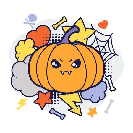 Halloween kawaii print or card with cute doodle pumpkin  Vector